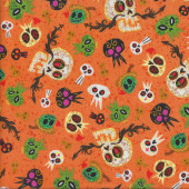 Skulls on Orange Ghosts Mexican Hot Tamale Quilting Fabric