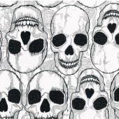 Large Skulls on White Yorick Quilting Fabric