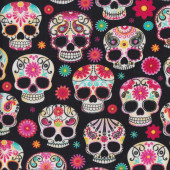 Skulls Black Quilting Fabric