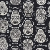 Dark Skulls on Black Quilting Fabric