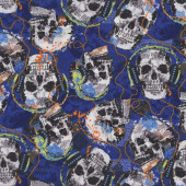Skulls Rocking With Headphones on Blue Music Quilt Fabric