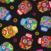 Colourful Sugar Skulls on Black Quilt Fabric