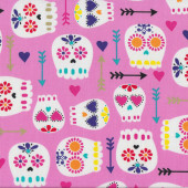 Modern Sugar Skulls With Arrows Love Hearts on Pink Quilt Fabric