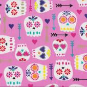 Skulls Pink Quilting Fabric Remnant 43cm x 112cm