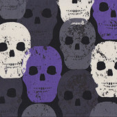Skulls Rock Purple Quilting Fabric