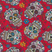 Sugar Skulls on Red Flowers Quilt Fabric