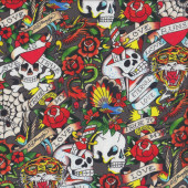 Skulls Roses Birds Quilting Fabric