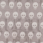 Human Skulls on Tan Quilt Fabric