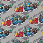 Skylanders on Grey Full Bloom Ahead Kids Licensed Quilt Fabric