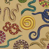 Colourful Snakes on Tan Reptile Wildlife Quilt Fabric
