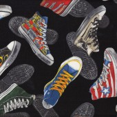 Cool for School Sneakers on Black Boys Girls Quilt Fabric