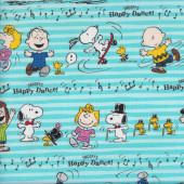 Snoopy Happy Dance on Aqua Sally Fabric