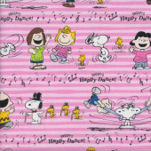 Snoopy Happy Dance on Pink Sally Fabric