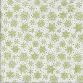 Green Snowflakes on White Christmas Quilting Fabric