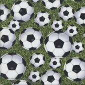 Soccer Balls on Green Grass Born To Score Sport Kids Quilting Fabric