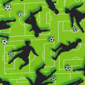 Soccer Balls Players on Green Silhouettes Boys Kids Girls Quilting Fabric