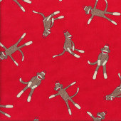 Sock Monkeys on Red Kids Quilting Fabric