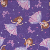 Sofia The First Purple Love Hearts Quilting Fabric