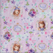 Princess Sofia The First on Mauve Crown Disney Quilting Fabric