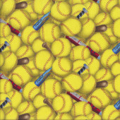 Softball Yellow Balls Quilting Fabric