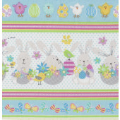 Easter Eggs Chickens Some Bunny Loves You Rabbits Border Quilting Fabric