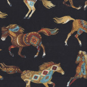 Southwest Horses on Black Quilting Fabric