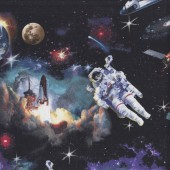 Astronauts Spaceship Outer Space on Black Galaxy Planets Quilting Fabric