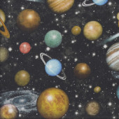 Planets in Night Sky Space Stars Galaxy Quilting Fabric