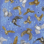 Owls on Blue Stars Magic Spellbound Quilting Fabric