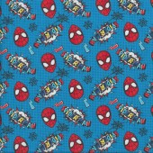 The Amazing Spiderman on Blue Kids Licensed Quilting Fabric