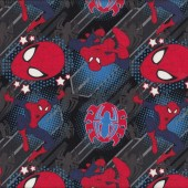 Spiderman on Blue and Black Boys Kids Licensed Quilt Fabric