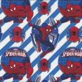 Ultimate Spiderman White Blue Marvel Boys Kids Licensed Quilt Fabric