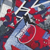 Ultimate Spiderman and Buildings Boys Kids Licensed Quilt Fabric