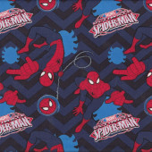 Ultimate Spiderman Marvel Chevron on Blue Black Licensed Quilt Fabric