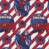 Ultimate Spiderman White Red Marvel Boys Kids Licensed Quilt Fabric