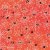 Spider Webs on Orange Black Spiders Cobwebs Quilt Fabric