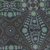 Australian Indigenous Aboriginal Spirit People Green By Denise Doolan Quilt Fabric