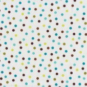 Brown Aqua Lime Green Spots on White Remix Quilt Fabric