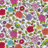 Colourful Flowers and Birds Floral on White Quilt Fabric