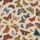 Butterflies on Cream Springtime in Paris Quilting Fabric