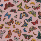 Butterflies on Pink Springtime in Paris Quilting Fabric