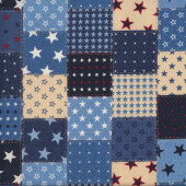 Denim Look Squares with White and Blue Stars Design Fabric