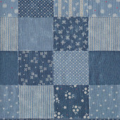 Denim Look Squares with Stripes Floral Dots Fabric