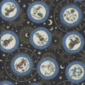 Zodiac Star Signs on Black Stars Quilting Fabric