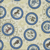 Zodiac Star Signs on Cream Stars Quilting Fabric