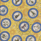 Zodiac Star Signs on Yellow Stars Quilting Fabric