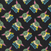 Star Wars Baby Yoda Mandalorian on Black Kids Licensed Quilting Fabric