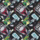 Star Wars Mandalorian Boba Fett in Squares Kids Licensed Quilting Fabric