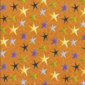 Purple Yellow Green Stars on Orange Quilting Fabric