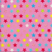 Stars with Stripes Dots on Pink Fabric